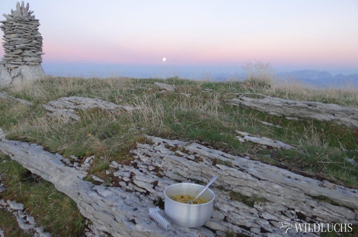 Pilzrisotto auf dem Gaskocher